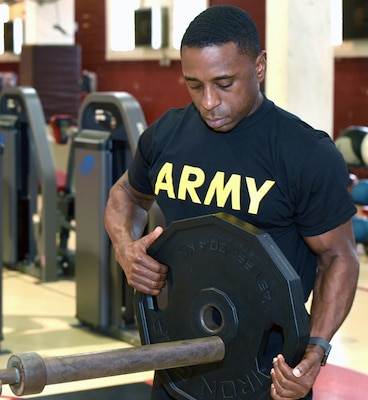 Army Capt. Johnny Dotson training at the Joint Base San Antonio-Fort Sam Houston Central Gym.