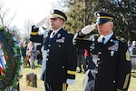 New York Army National Guard Command Sgt. Major David Piwowarski and Brig. Gen. John Adonie render honors to President Martin Van Buren, the 8th president of the United States, during a Dec. 5, 2018, ceremony at his gravesite at Kinderhook Reformed Church Cemetery in Kinderhook, N.Y. The U.S. military presents wreaths from the current occupant of the White House at the gravesites of former presidents on the anniversary of their birth. Van Buren was born in Kinderhook in 1782.