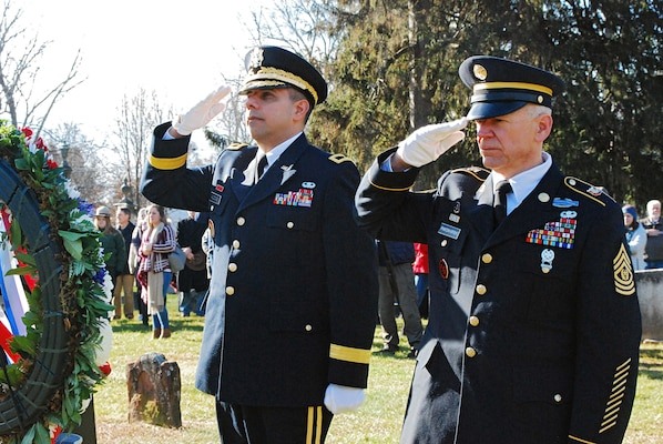 New York Army National Guard Command Sgt. Major David Piwowarski and Brig. Gen. John Adonie, render honors to President Martin Van Buren, the 8th president of the United States, during a Dec. 5, 2018 ceremony at his gravesite at Kinderhook Reformed Church Cemetery in Kinderhook, N.Y.