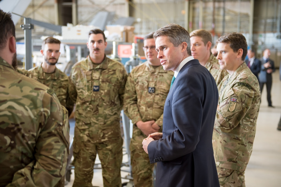 Secretary of State for Defence Gavin Williamson CBE (Commander of the Most Excellent Order of the British Empire) meets with members of the Royal Air Force's 17 Squadron, which is the organization on Edwards Air Force Base responsible for the operational test and evaluation of the U.K.'s F-35 Joint Strike Fighter, Dec. 2. (U.S. Air Force photo by Kyle Larson)