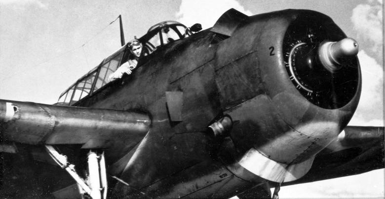 A file photo taken in 1944 of Navy pilot George H. W. Bush in his Grumman TBF Avenger torpedo bomber.