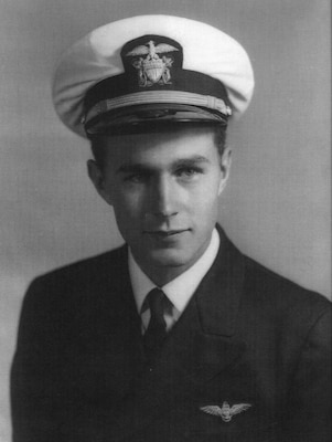 An undated  file photo of Navy pilot George H. W. Bush.