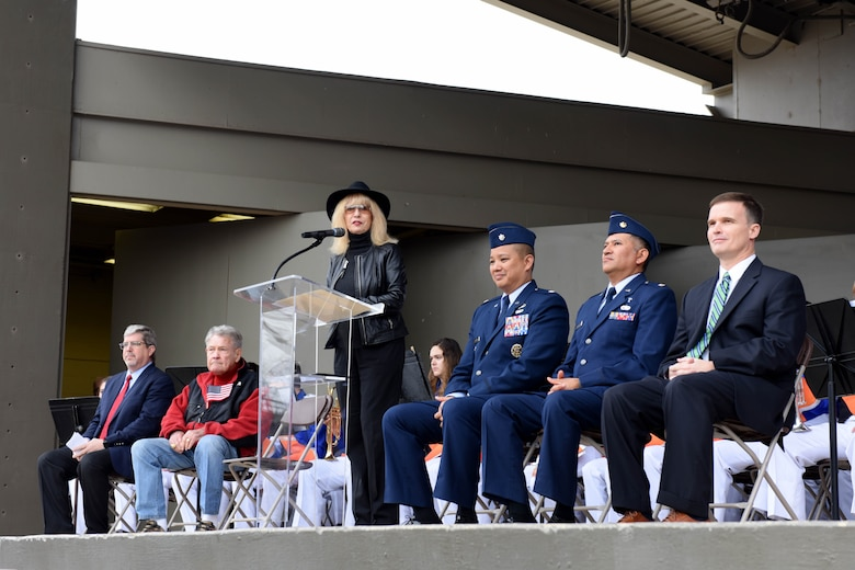 San Angelo Mayor, Brenda Gunter speaks during the Hero's Hunt Honor Concert at the Bill Aylor Sr. Memorial RiverStage in San Angelo, Texas, Dec. 6, 2018. Gunter thanked the wounded veterans for their service. (U.S. Air Force photo by Senior Airman Randall Moose/Released)