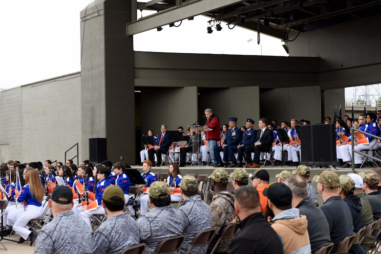 San Angelo Civic Leader, Sonny Cleere speaks during the Hero's Hunt Honor Concert at the Bill Aylor Sr. Memorial RiverStage in San Angelo, Texas, Dec. 6, 2018. Cleere was the main speaker for the event. (U.S. Air Force photo by Senior Airman Randall Moose/Released)