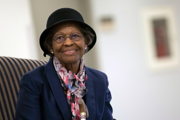 """Dr. Gladys West is inducted into the Air Force Space and Missile Pioneers Hall of Fame during a ceremony in her honor at the Pentagon in Washington, D.C., Dec. 6, 2018. West was among the so-called """"Hidden Figures"""" part of the team who did computing for the U.S. military in the era before electronic systems. The Air Force Space and Missile Pioneers Hall of Fame is one of Air Force's Space Commands Highest Honors.(Photo by Adrian Cadiz)"""