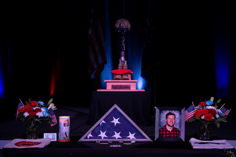 A memorial for U.S. Air Force Staff Sgt. Dylan Elchin, a Special Tactics combat controller with the 26th Special Tactics Squadron, is displayed during a service in Moon Township, Pennsylvania, Dec. 6, 2018.