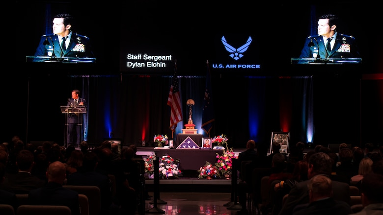 U.S. Air Force Col. Claude Tudor, Jr., commander of the 24th Special Operations Wing, gives remarks during a memorial service in Moon Township, Pennsylvania, Dec. 6, 2018.