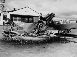 The remains of a P-40 Tomahawk at Wheeler Field. (National Archives photo)