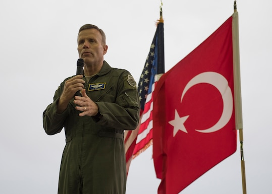 U.S. Air Force Gen. Tod D. Wolters, U.S. Air Forces in Europe-Air Forces Africa commander, speaks during an all-call at Incirlik Air Base, Turkey, Dec. 6, 2018.