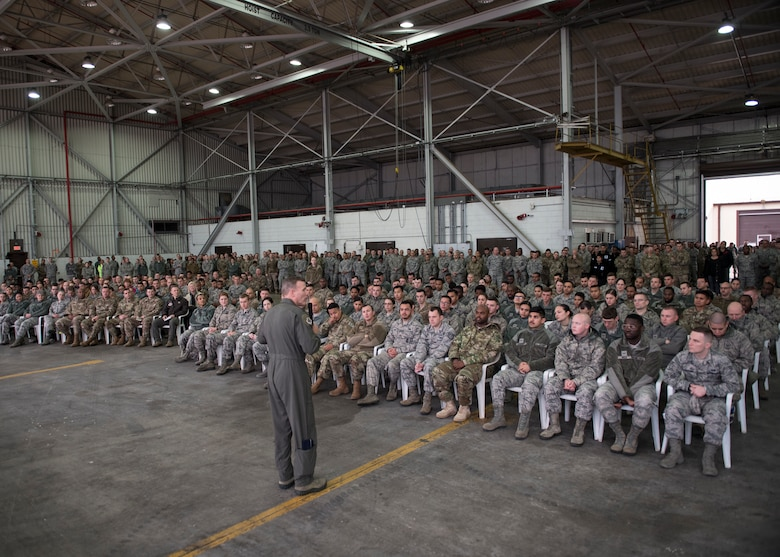 U.S service members listen to U.S. Air Force Gen. Tod D. Wolters, U.S. Air Forces in Europe-Air Forces Africa commander, during an all-call at Incirlik Air Base, Turkey, Dec. 6, 2018.