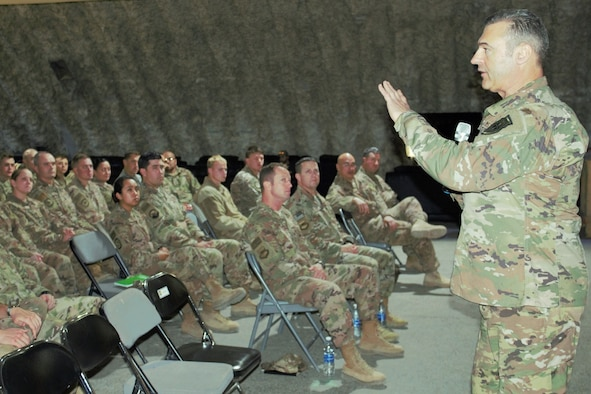 "Lt. Gen. Joseph T. Guastella, U.S. Air Forces Central Command commander, addresses members of the 332d Air Expeditionary Wing Dec. 4, 2018.  Guastella recognized Airmen for their exceptional service in support of U.S. Air Forces Central Command operations.  ""What you do matters, and I thank you,"" he said. (U.S. Air Force photo by Maj. John T. Stamm)"