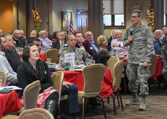 "Col. Dan Sarachene, 910th Airlift Wing commander, shares the mission, vision and status of Youngstown Air Reserve Station at the Youngstown-Warren Regional Chamber's annual ""Good Morning, Trumbull County!"" breakfast."
