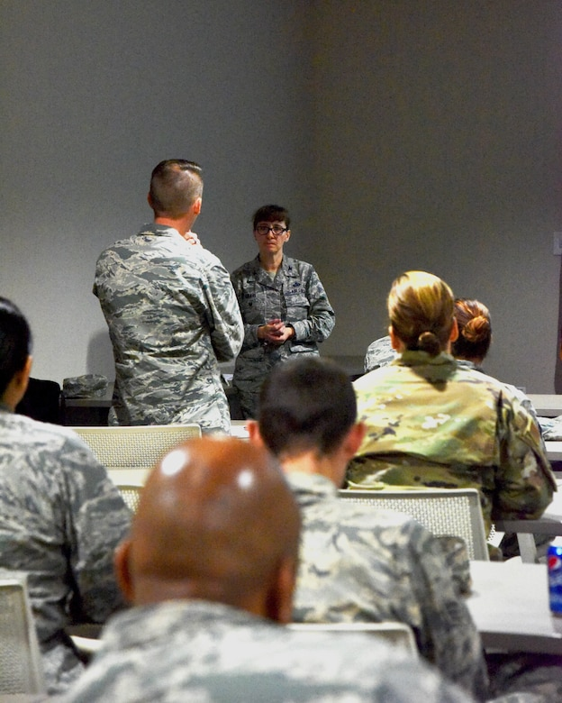 The Air Force Reserve director of manpower, personnel and services spoke on recruiting and retaining quality Airmen during a Force Support Squadron all call Dec. 1, 2018.