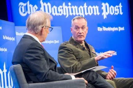 """Marine Corps Gen. Joe Dunford, chairman of the Joint Chiefs of Staff, answers questions from David Ignatius, Washington Post columnist, and discusses key threats facing the United States now, and in the future, as part of the """"Transformers Defense"""" summit for Washington Post Live in Washington, D.C., Dec, 6, 2018."""