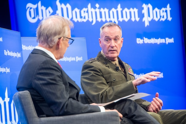 "Marine Corps Gen. Joe Dunford, chairman of the Joint Chiefs of Staff, answers questions from David Ignatius, Washington Post columnist, and discusses key threats facing the United States now, and in the future, as part of the ""Transformers Defense"" summit for Washington Post Live in Washington, D.C., Dec, 6, 2018."