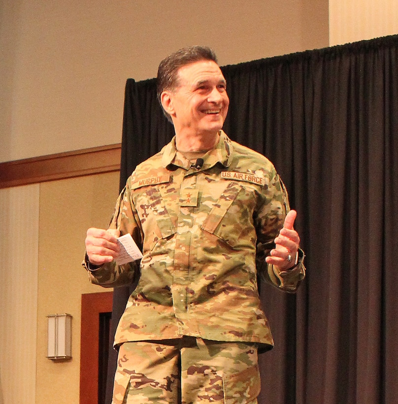 """U.S. Air Force Maj. Gen. (Dr.) Sean L. Murphy, Deputy Surgeon General, speaks during the 2018 Air Force Medical Service Senior Leadership Workshop at the National Conference Center in Leesburg, Va., Dec. 5, 2018. Murphy, along with U.S Air Force Lt. Gen. Dorothy Hogg, Air Force Surgeon General, recognized Airmen as part of the Trusted Care """"How Do You C.A.R.E."""" campaign. (U.S. Air Force photo by Josh Mahler)"""