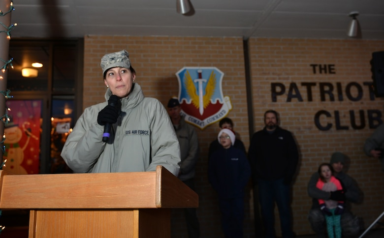 Colonel Sherri Levan, 55th Wing vice commander, greets the crowd during the annual Offutt Christmas Tree Lighting event held at the Patriot Club, Offutt Air Force Base, Nebraska, Dec. 6, 2018. The annual tree-lighting event was attended by an estimated 1,500 people. (U.S. Air Force photo by Josh Plueger)