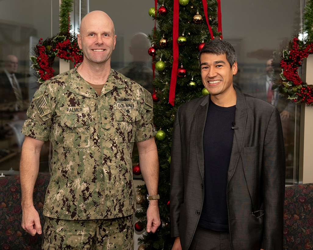 Defense Logistics Agency Land and Maritime Commander Navy Rear Adm. John Palmer pictured with Joseph Connolly.