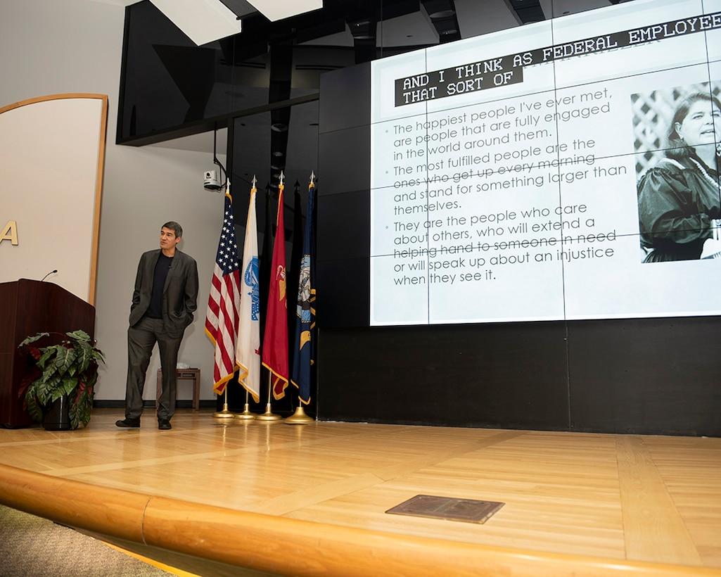 Joseph Connolly, a NASA aerospace engineer and Haudenosaunee tribal member, delivers the keynote presentation