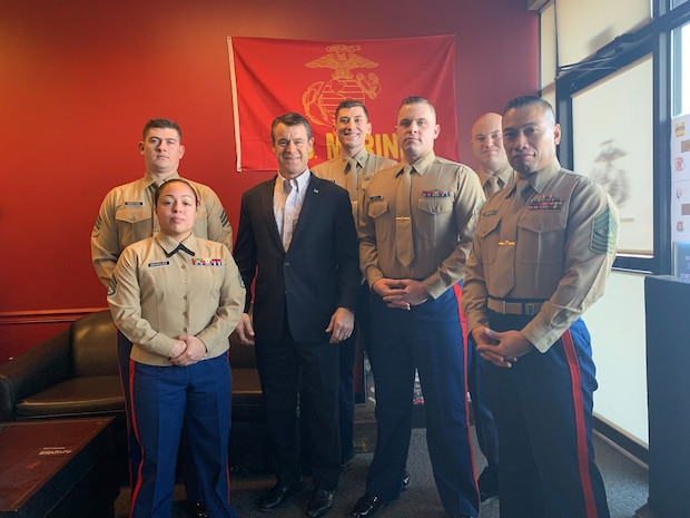 U.S. Senator Todd Young of Indiana, a U.S. Marine Corps veteran, speaks to the Marines of Recruiting Station Indianapolis in Avon, Indiana, Dec. 7, 2018. Young represents Indiana in the U.S. Senate. Young was an officer selection officer with RS Indianapolis while active duty. (U.S. Marine Corps photo by Sgt. Carl King)