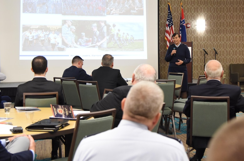 U.S. Air Force Col. Debra Lovette, 81st Training Wing commander, delivers the 81st TRW mission briefing during the Mississippi Gulf Coast Defense Forum inside the Courtyard by Marriott Gulfport Beachfront in Gulfport, Mississippi, Dec. 3, 2018. The two-day forum is a product of the Association of Defense Communities, an organization focused on advancing community-military partnerships that promote the value of military installations, strengthen communities and states through collaborative relationships and sustainable regional planning. (U.S. Air Force photo by Kemberly Groue)