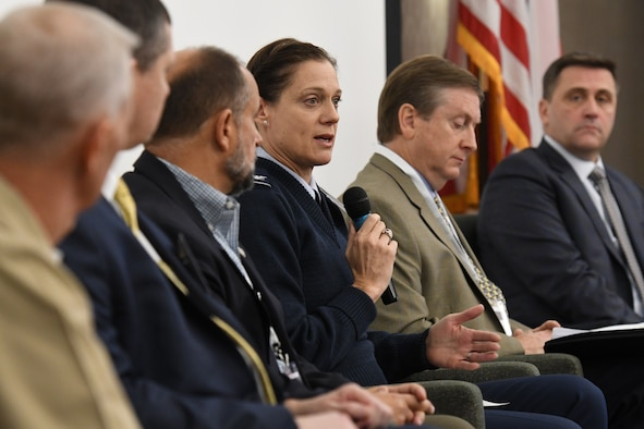 U.S. Air Force Col. Marcia Quigley, 81st Mission Support Group commander, participates in a panel discussion during the Mississippi Gulf Coast Defense Forum inside the Courtyard by Marriott Gulfport Beachfront in Gulfport, Mississippi, Dec. 3, 2018. The two-day event connected Defense Department leaders at the secretariat level with state leaders bringing key decision makers to the state to show its tremendous assets, facilitate communication between the installation commanders and their associated community leaders. (U.S. Air Force photo by Kemberly Groue)
