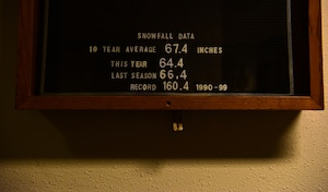 Snowfall data is displayed on a board at the 354th Civil Engineer Squadron heavy vehicle equipment shop Dec. 6, 2018 at Eielson Air Force Base, Alaska. Less than 200 mile from the Arctic Circle, Eielson Air Force Base is one of the northern most installations in the service. (U.S. Air Force photo by Tech. Sgt. Jerilyn Quintanilla)