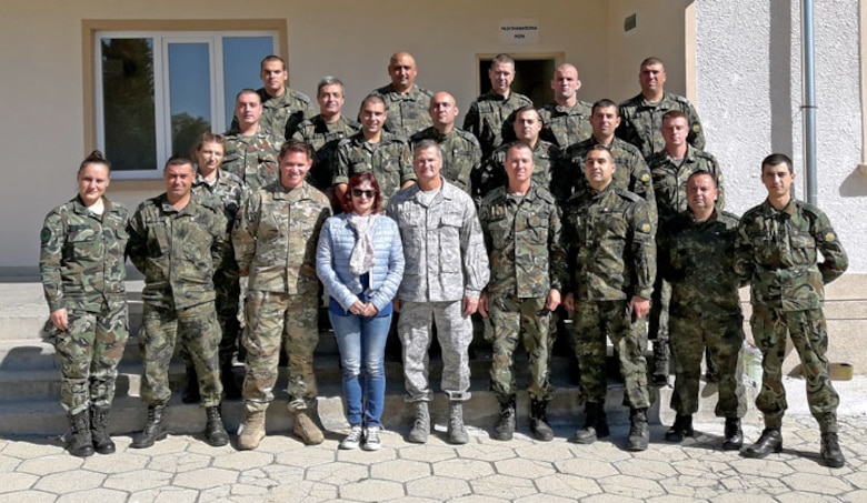 U.S. Air National Guard Chief Master Sgt. James, a superintendent at the 118th Wing (center), met with his Bulgarian counterparts as part of the U.S. National Guard Bureau's State Partnership Program in September 2018 in Stara Zagora, Bulgaria.