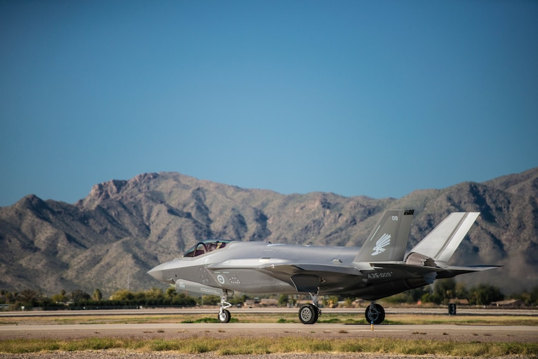 A Royal Australian Air Force F-35A Lightning II taxis at Luke Air Force Base, Ariz., Dec. 3, 2018. Two F-35s were preparing to take off and fly to Hawaii as part of their multi-day journey to Australia. (U.S. Air Force photo by Staff Sgt. Jensen Stidham)