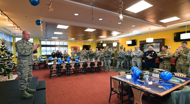 Col. Troy Endicott, 460th Space Wing commander, speaks to attendees on the significance of the highest enlisted rank during the chief master sergeant release party at Buckley Air Force Base, Colo., Dec. 6, 2018.