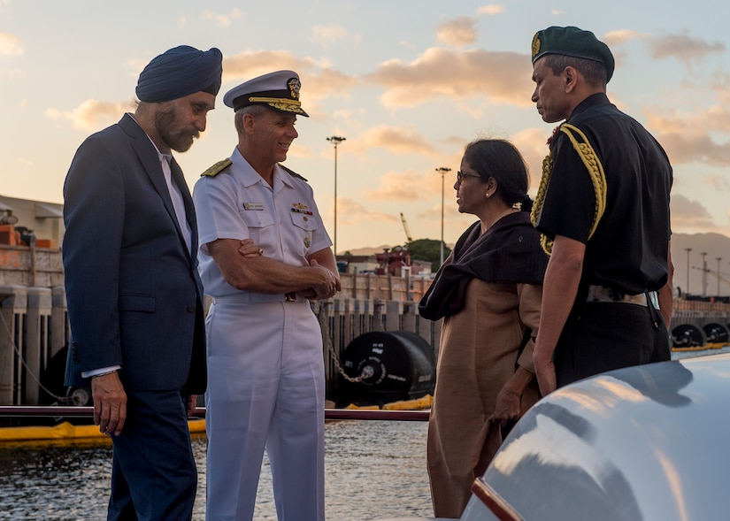 Admiral Phil Davidson, commander of U.S. Indo-Pacific Command, hosts India's Minister of Defense, Nirmala Sitharaman, on barge tour of historic Pearl Harbor, Hawaii, December 6, 2018 (U.S. Navy/Robin W. Peak)