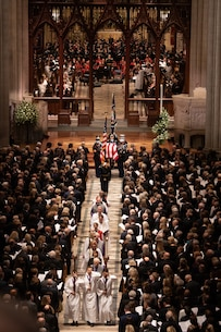 "On Dec. 5, 2018, ""The President's Own"" Marine Chamber Orchestra participated in the state funeral in honor of former President George H.W. Bush at the Washington National Cathedral."