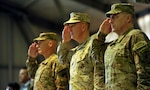 Chairman of the Joint Chiefs of Staff Marine Corps Gen. Joe Dunford (center), then commander of the International Security Assistance Force in Afghanistan, and then Army Lt. Gen. Mark Milley (right), render honors during a change of command ceremony at Kabul International Airport, Afghanistan, May 2, 2013. In a tweet Dec. 8, 2018, President Donald J. Trump indicated he will nominate Milley as the next chairman. Milley, now a four-star general, is the Army chief of staff. Army photo by Staff Sgt. Daniel Wallace