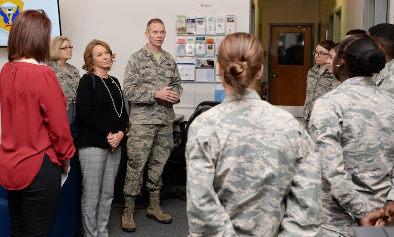 Maj. Gen. James C. Dawkins Jr., Eighth Air Force commander, tours the Welcome Center with his wife Daina.