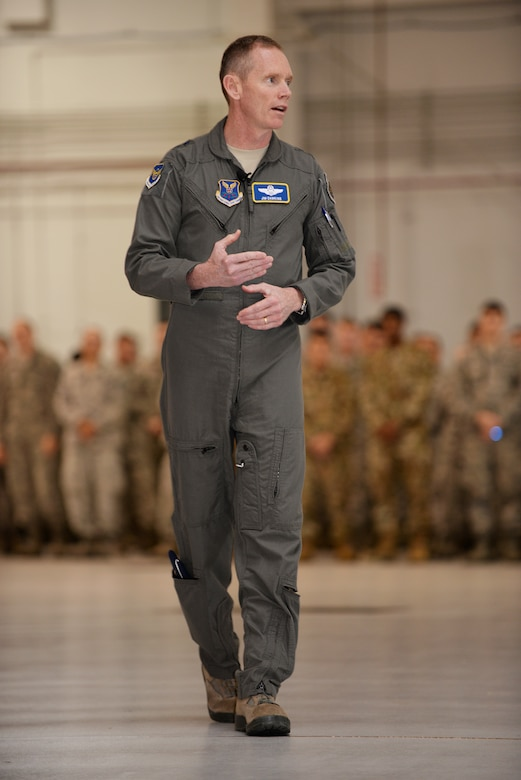 Maj. Gen. James C. Dawkins Jr., Eighth Air Force commander, addresses his audience during an all-call formation,