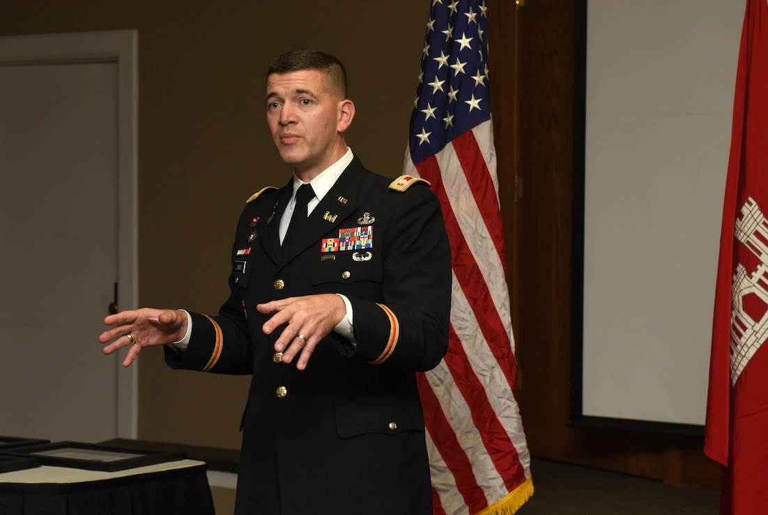 Lt. Col. Cullen Jones, U.S. Army Corps of Engineers Nashville District commander, addresses graduates during the 2018 Leadership Development Program Level II Course Graduation Dec. 4, 2018 at the Scarritt Bennett Center in Nashville, Tenn. (USACE Photo by Lee Roberts)