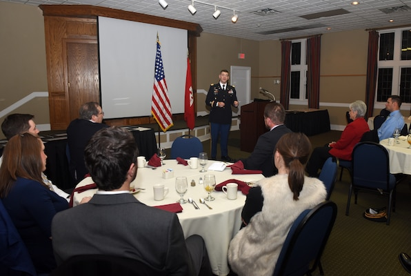 Lt. Col. Cullen Jones, U.S. Army Corps of Engineers Nashville District commander, addresses graduates during the 2018 Leadership Development Program Level II Course Graduation Dec. 4, 2018 at the Scarritt Bennett Center in Nashville, Tenn. (USACE Photo by Leon Roberts)