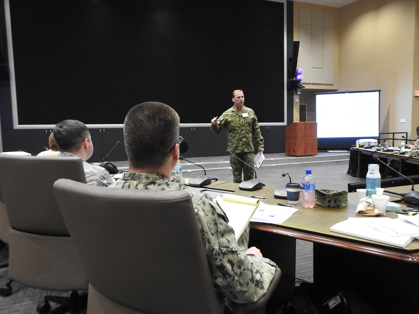 Australian Army Lt. Col. Brad Smith teaches how to integrate gender into military operations during the Operational Gender Advisor Course hosted by U.S. Southern Command in Doral, Florida, Dec. 6, 2018.
