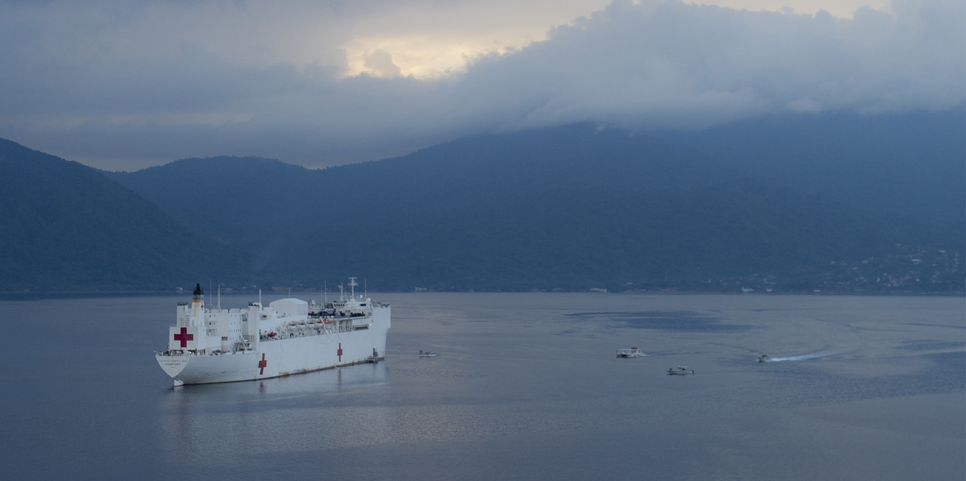 The hospital ship USNS Comfort (T-AH 20) is anchored off the coast of Honduras as part of an 11-week medical support mission to Central and South America as part of U.S. Southern Command's Enduring Promise initiative.