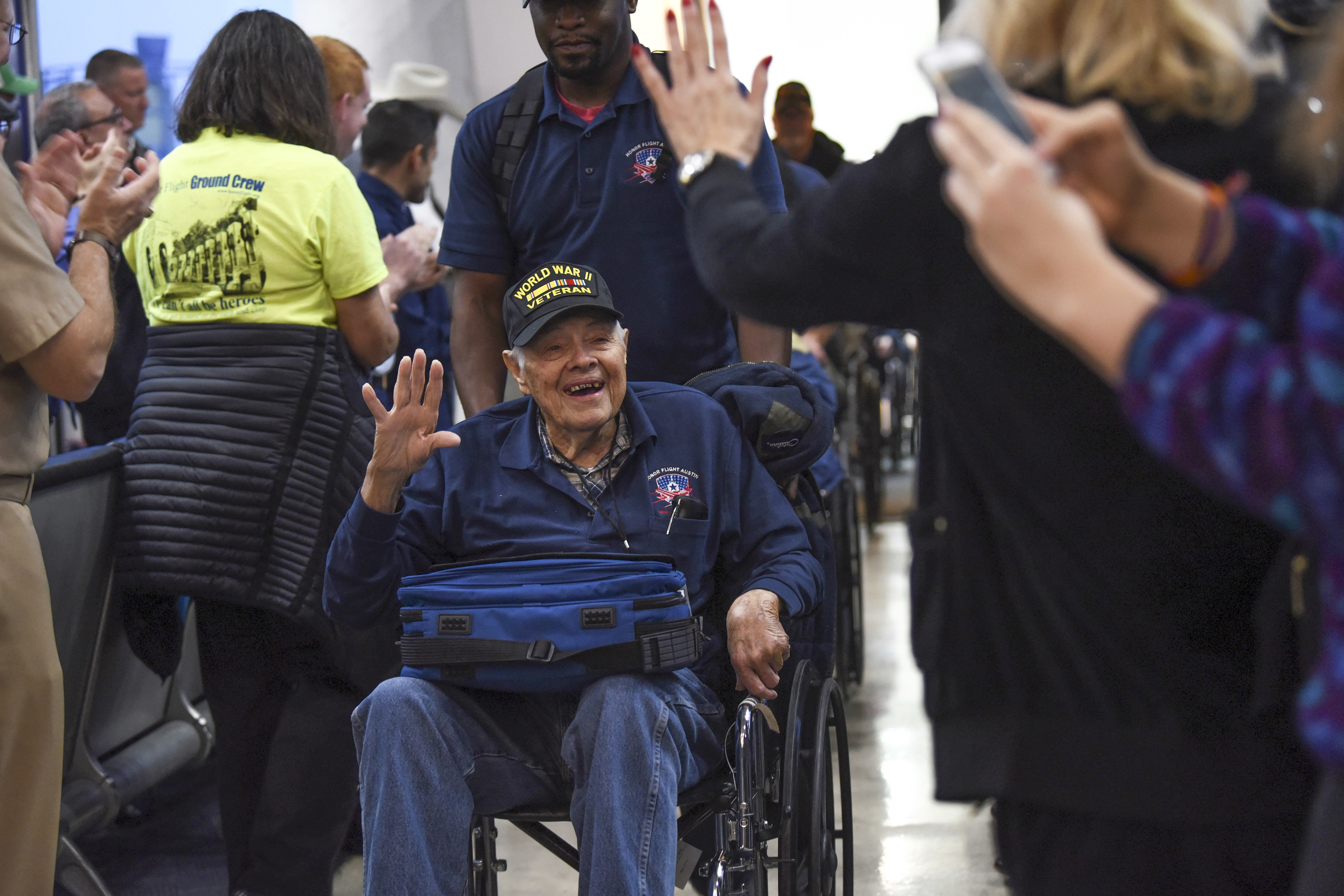 veteran being greeted at the airport
