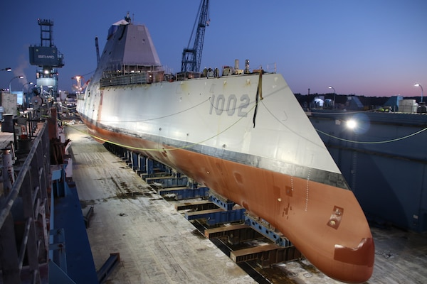 The future USS Lyndon B. Johnson (DDG 1002) was launched at General Dynamics-Bath Iron Works shipyard.