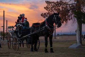 A horse-drawn carriage loaded with passengers, prepares to trot around Fowler Park, Dec. 7, 2018, at Luke Air Force Base, Ariz.