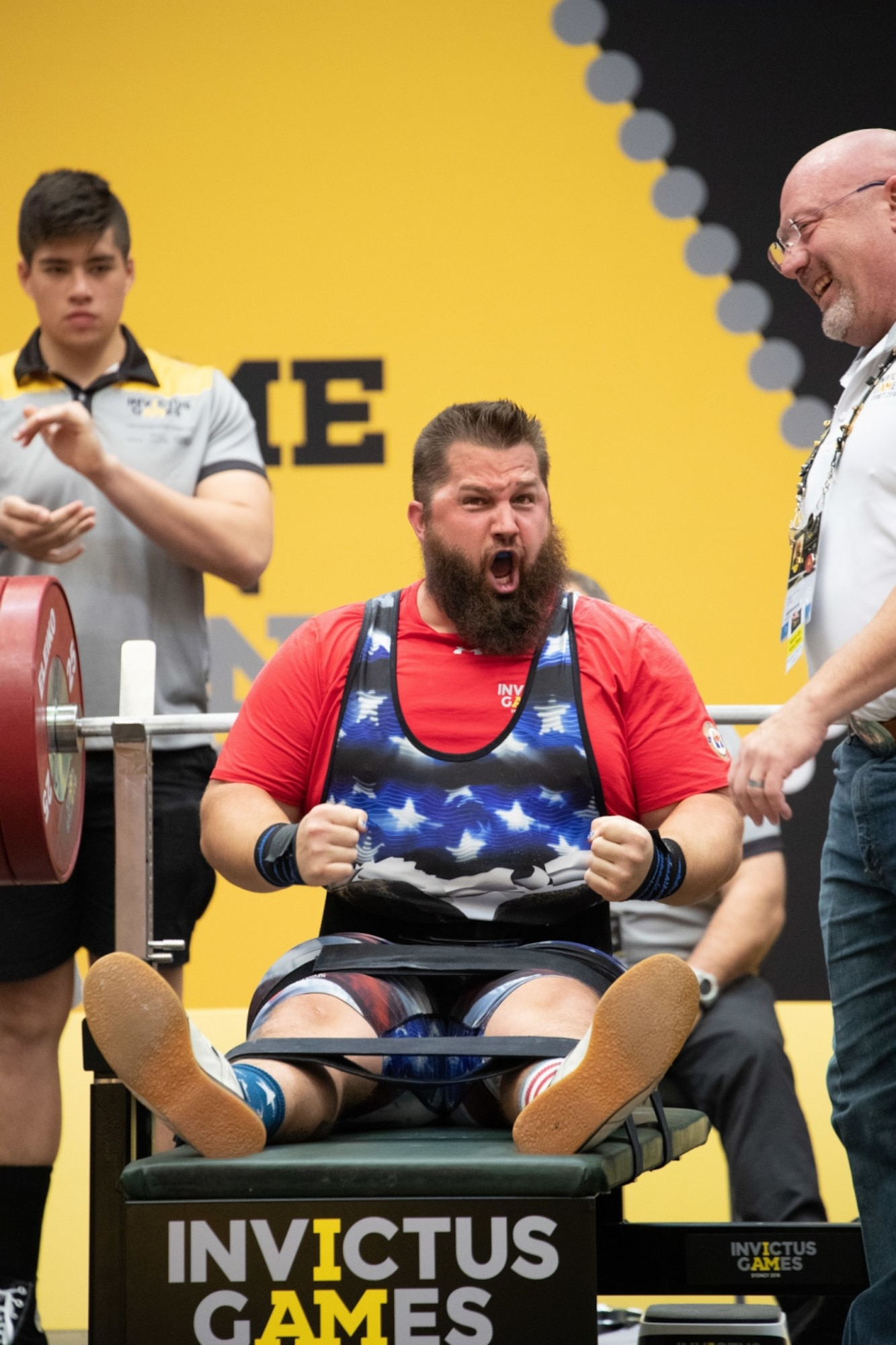 """Retired Capt. Lawrence """"Rob"""" Hufford, USAF, yells triumphantly after lifting 190 kg (418 lbs), setting a personal best in the heavyweight category of power-lifting at the 2018 Invictus Games. 500 wounded warriors from 18 countries gathered in Sydney, Australia to compete in adaptive sporting events from 21-27 October 2018."""