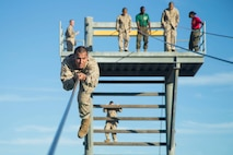 The confidence course challenges recruits to face their fears and overcome them. Annually, more than 17,000 males recruited from the Western Recruiting Region are trained at MCRD San Diego. Alpha Company is scheduled to graduate Feb 1. Photo by: Cpl. Brooke C. Woods