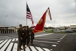 Marines with the color guard present the colors during the Defense Cyberspace Operations Internal Defense Measures Company activation ceremony at Camp Hansen, Okinawa, Japan, Dec. 7, 2018. Lt. Col. Michael Hlad, battalion commander of 7th Communication Battalion, served as the reviewing officer during the ceremony. DCO-IDM Company is III MEF Information Group's first line of defense against cyber-attacks in the Indo-Pacific region. The Marines are with DCO-IDM, 7th Communication Battalion, III Marine Expeditionary Force Information Group.