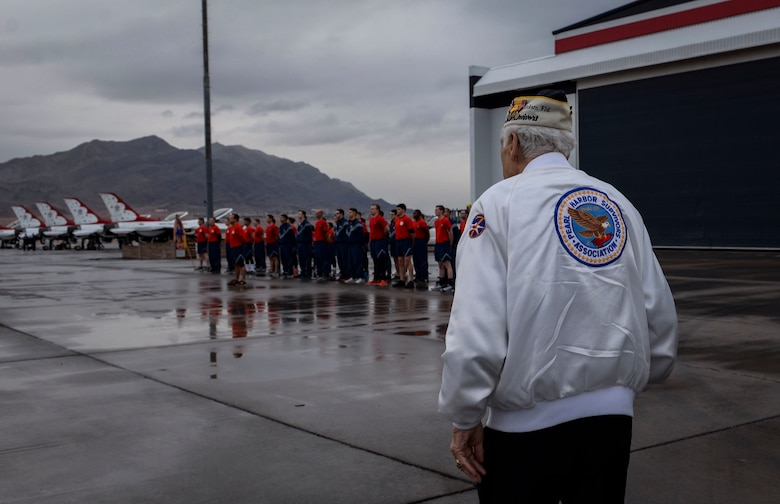 Ed Hall, Pearl Harbor Survivor, visits the Thunderbirds Hangar Dec. 7, 2018 at Nellis Air Force Base, Nevada. Hall's stop at the hangar was one of many stops on his base tour. (U.S. Air Force photo by Airman 1st Class Bailee A. Darbasie)