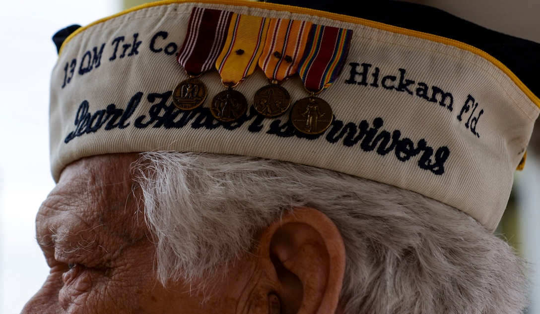 Ed Hall, Pearl Harbor Survivor, celebrates National Pearl Harbor Remembrance Day Dec. 7, 2018 at Nellis Air Force Base, Nevada. Hall's base tour included stops at the Thunderbirds Museum, Threat Training Facility and Crosswinds Dining Facility. (U.S. Air Force photo by Airman 1st Class Bailee A. Darbasie)