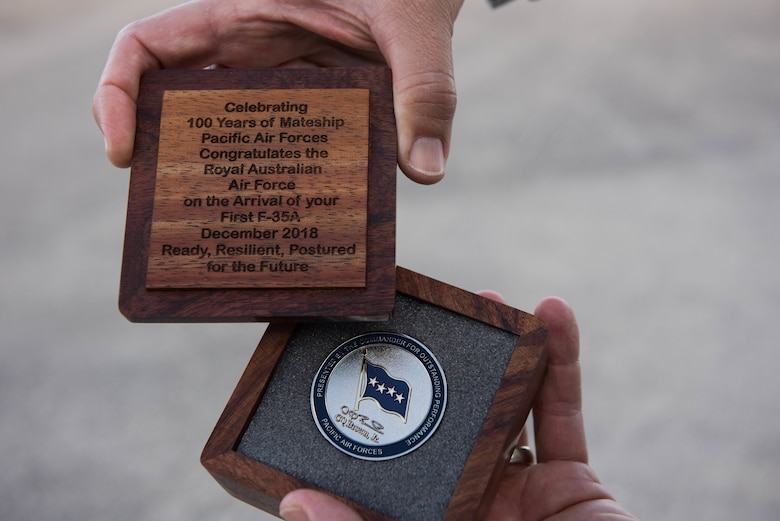 The coin to be presented to Royal Australian Air Force Air Marshal Leo Davies, Chief of Air Force, on behalf of U.S. Air Force Gen. CQ Brown, Jr., Pacific Air Forces commander.