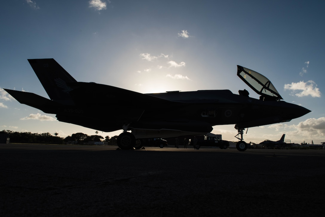 A Royal Australian Air Force F-35A sits on the ramp at Joint Base Pearl Harbor-Hickam, Hawaii, Dec. 3, 2018.