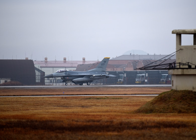 A U.S. Air Force F-16 Fighting Falcon assigned to the 8th Fighter Wing taxis to the runway in preparation for takeoff at Kunsan Air Base, Republic of Korea, Dec. 3, 2018. The highly maneuverable aircraft can withstand up to nine times the force of gravity with a full load of internal fuel. (U.S. Air Force photo by Tech. Sgt. Charles McNamara)